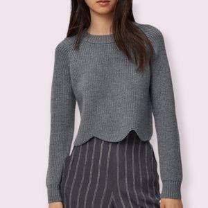 NWOT Wilfred Sardou Scalloped Knit Sweater